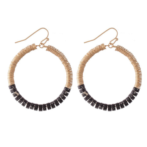 Ana Beaded Circle Drop Earrings