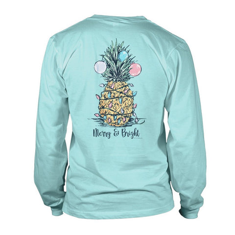 Merry and Bright Pineapple - Green - Long Sleeve T-Shirt