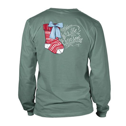 Tis The Season Stocking - Green - Long Sleeve T-Shirt