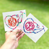 Nurse Heart Stethoscope Lilly Monogram Decal