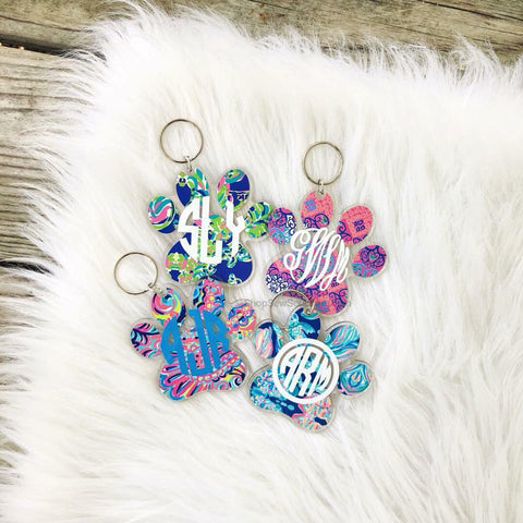 Lilly Dog Paw Print Monogram Keychain