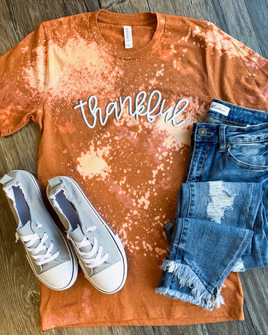 Thankful Bleached - Orange - Graphic T-Shirt