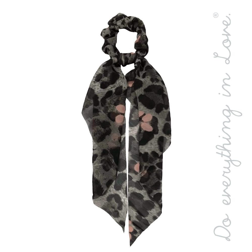 Lydia Grey Leopard Hair Scarf