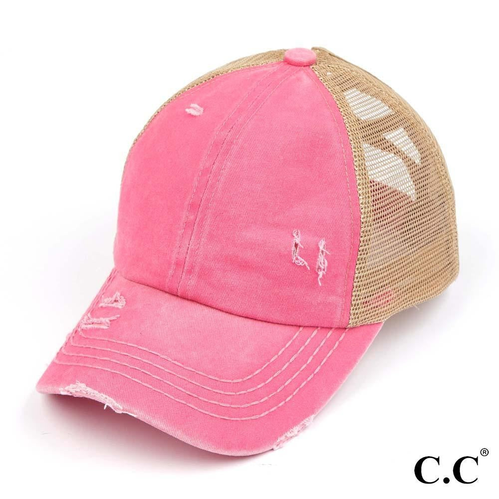 *SALE* Solid Color CC Criss Cross Ponytail Baseball Cap
