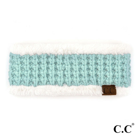 Solid Knit with Fuzzy Sherpa Lining - CC Headband