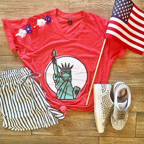 Lady Liberty - Red - Graphic T-Shirt
