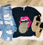 Leopard Tongue Pink Lips - Graphic Shirt