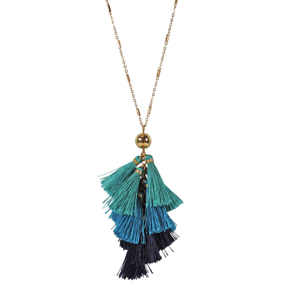 Tassel Cluster Necklace - Blue Mix