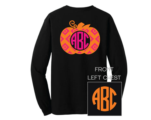 Black Two Color Aztec Pumpkin Monogram Shirt - LONG SLEEVE