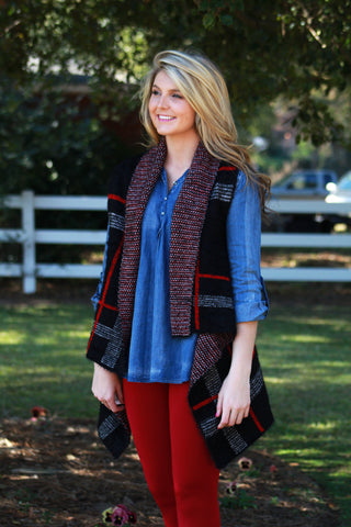 Black Plaid Vest