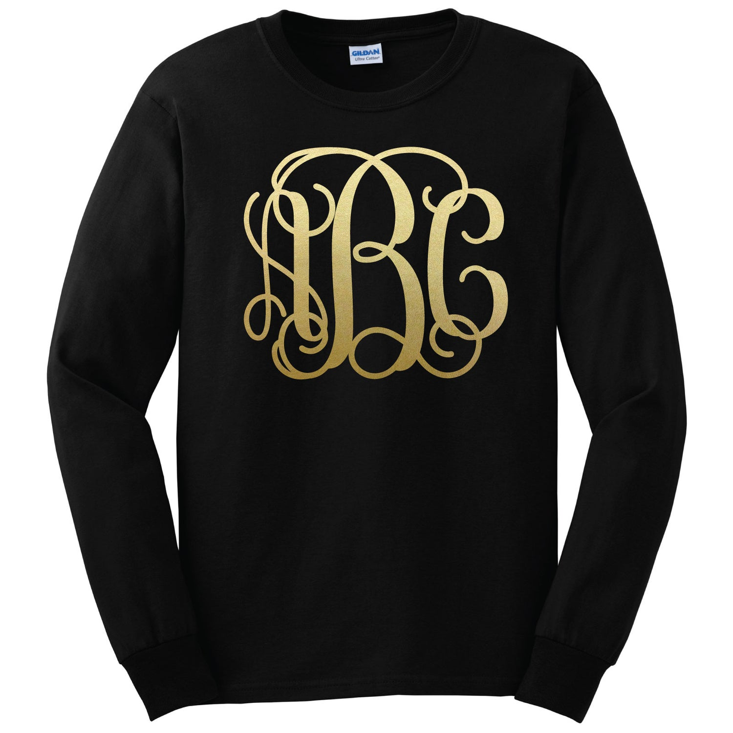 Black Shirt with Gold Monogram - Long Sleeve