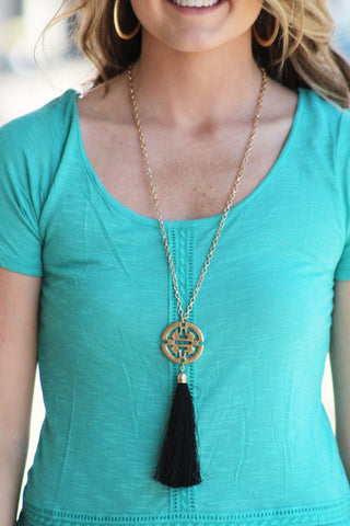 Black Tassel Necklace w/ Gold Emblem
