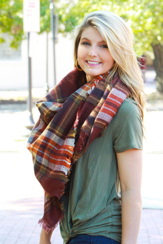 Coffee Plaid Blanket Scarf