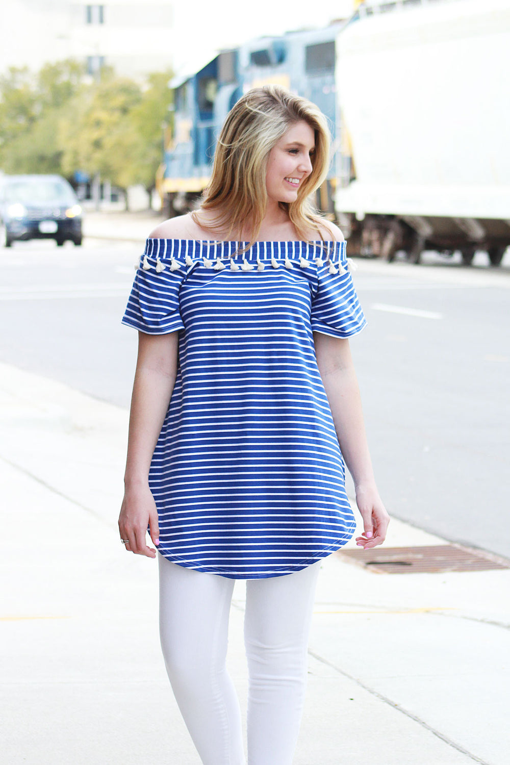 Right About Stripes Tunic - Blue
