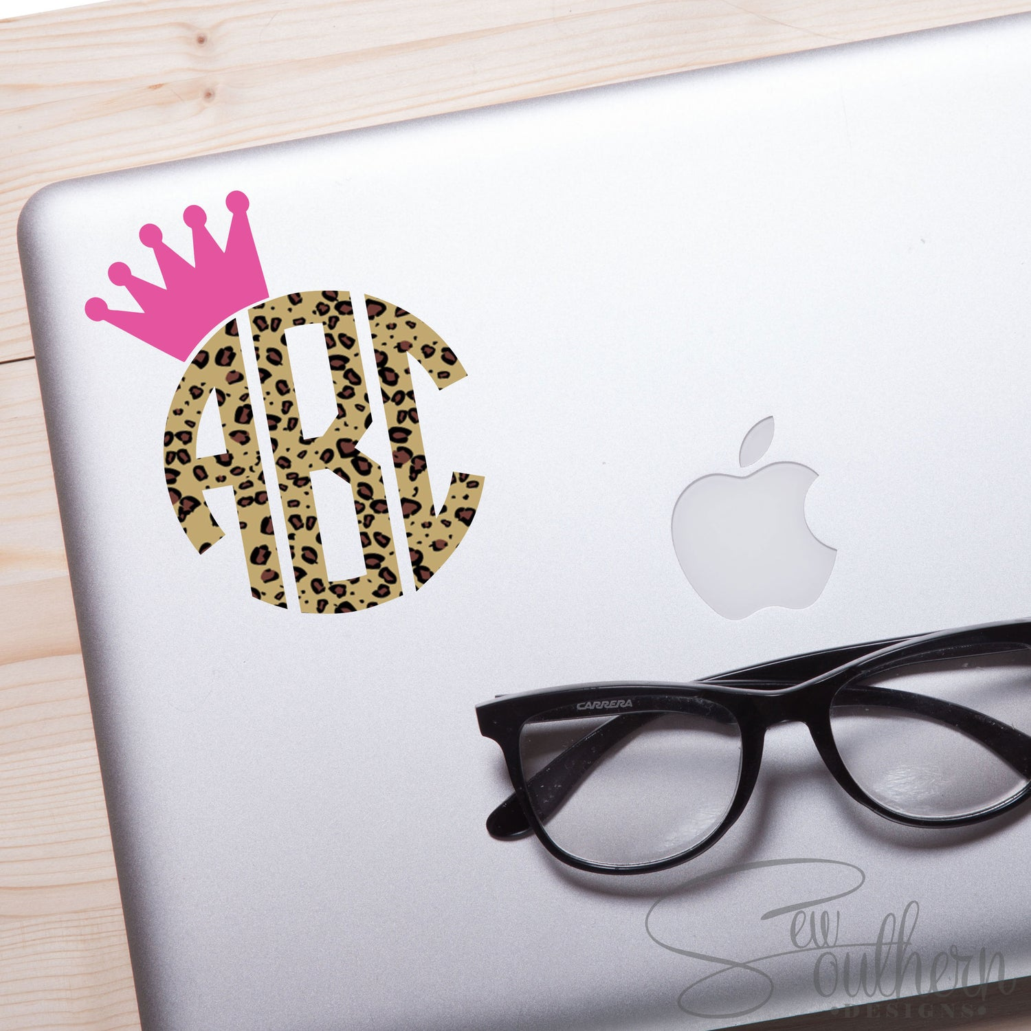 Leopard/Cheetah Print with Crown Monogram Decal