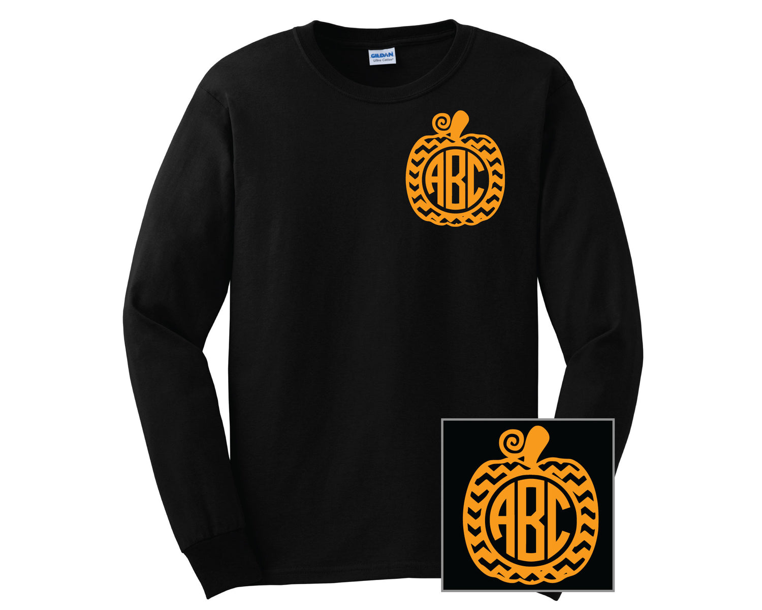 Chevron Pumpkin Monogram T-Shirts - LONG SLEEVE