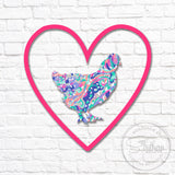 Lilly Chicken Heart Monogram Decal