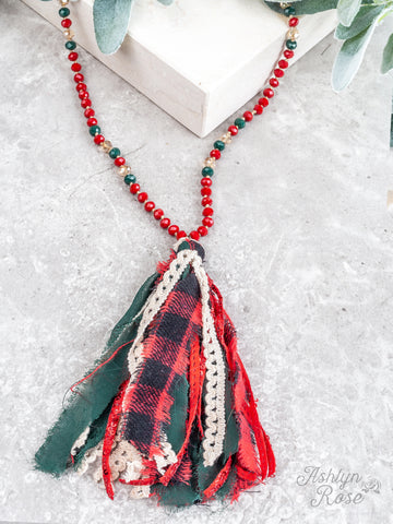Festive Christmas Tassel Necklace - Red/Green