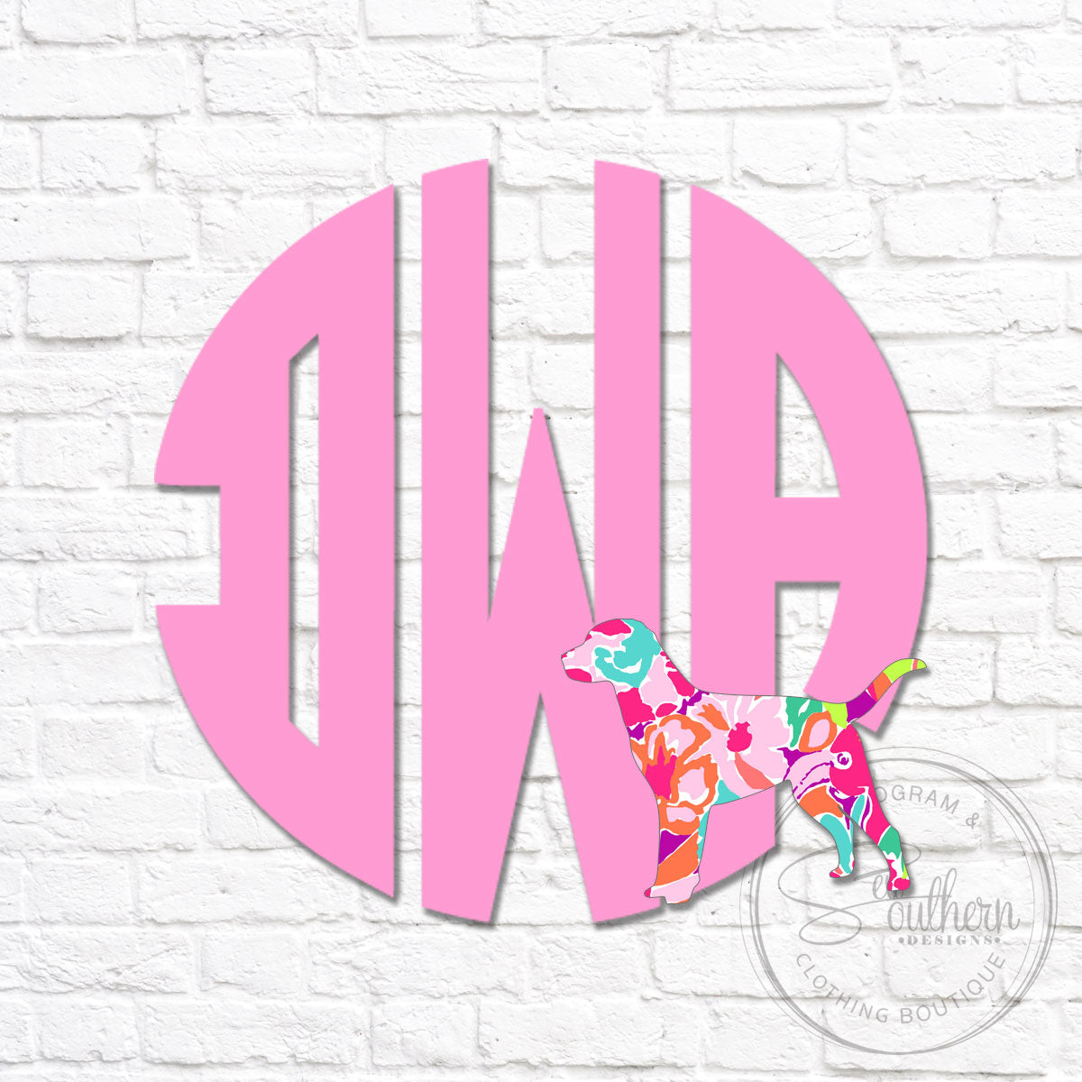 Monogram with Small Lilly Dog Silhouette Decal