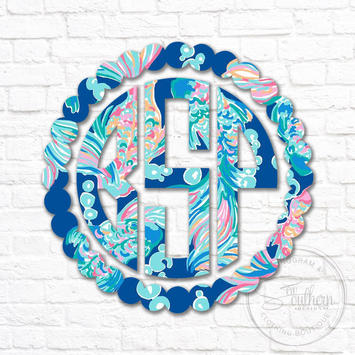 Lilly Dot Scallop Border Monogram Decal