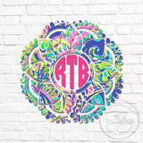 Lilly Dotted Flower Mandala Monogram Decal