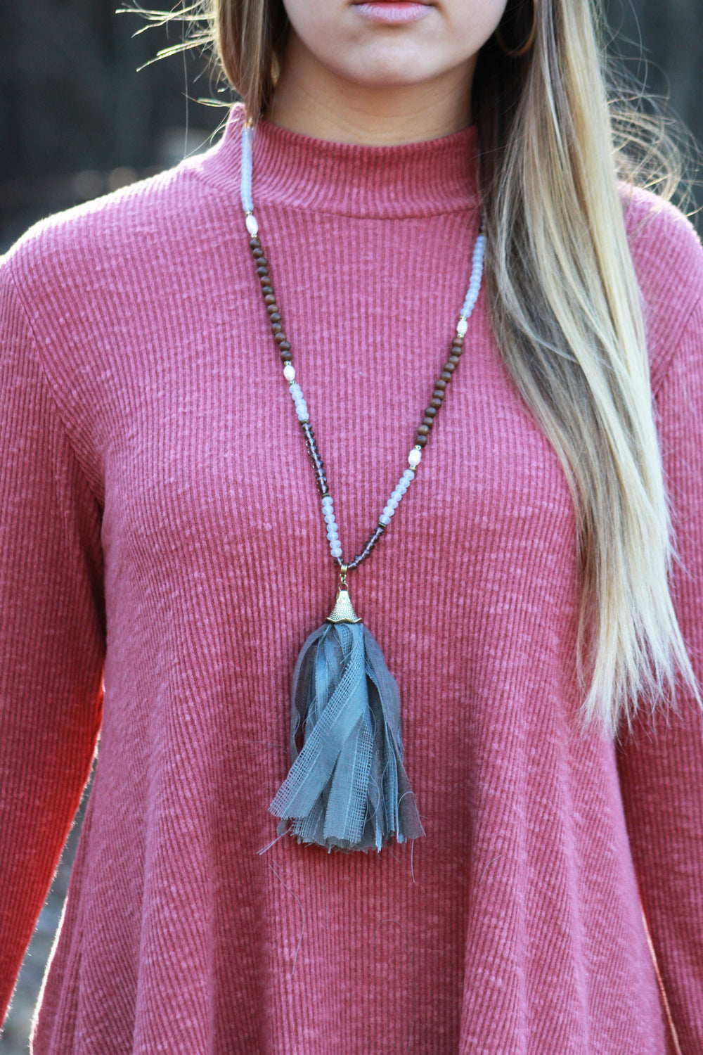 Beaded Fabric Tassel Necklace