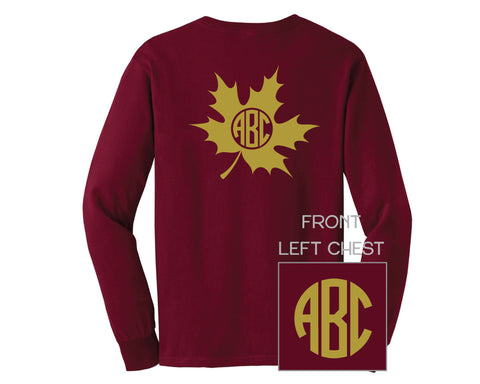 Dark Red Fall Leaf Monogram Shirt - LONG SLEEVE