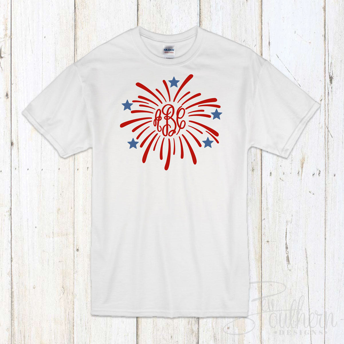 Fireworks Monogram T-Shirt - White