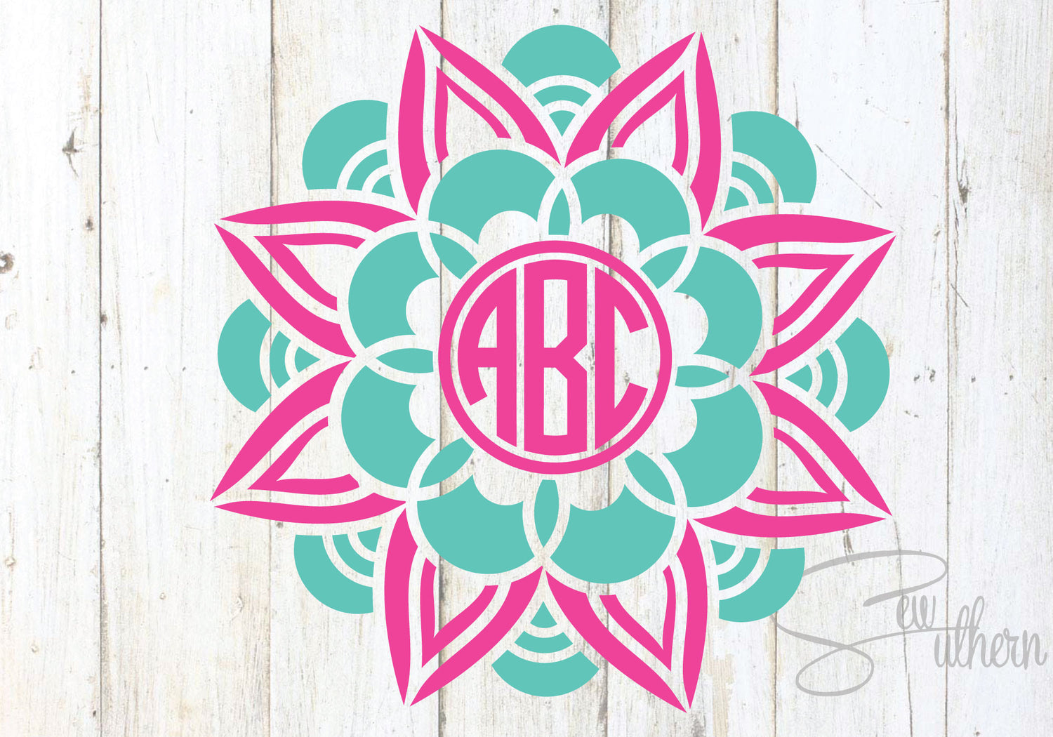 Flower Mandala Two Color Monogram Sew Southern Designs