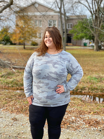 Camo Cutie Pullover Sweater - Grey