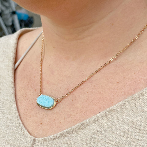 Druzy Hexagon Necklace - Aqua