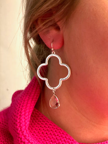 Clover Stone Drop Earrings - Silver