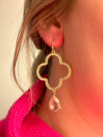 Clover Stone Drop Earrings - Gold