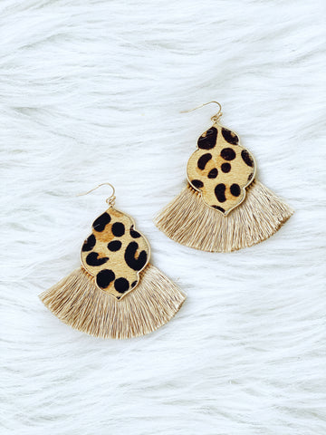 Leoaprd Print Tassel Earrings - Beige