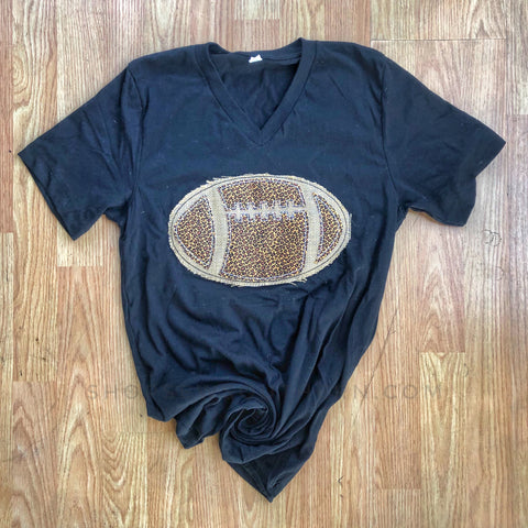 Football Applique Vneck - Black - Graphic T-Shirt