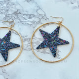 Glitter Star Circle Earrings - Navy