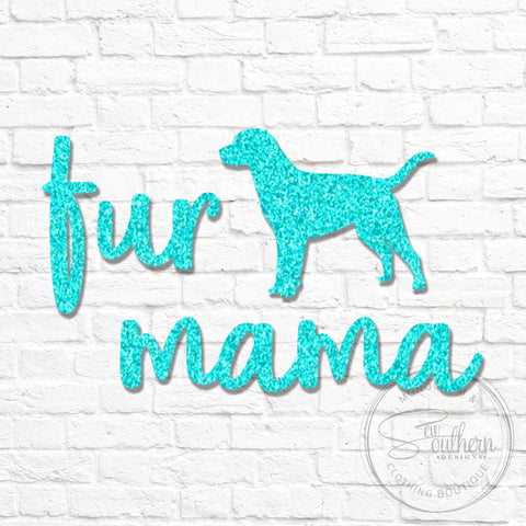 Glitter Fur Mama Dog Silhouette Decal