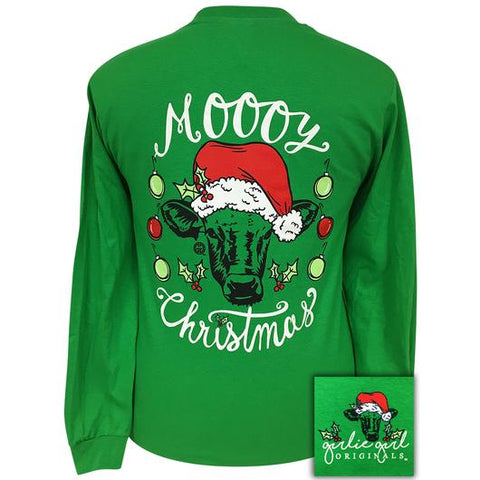 Cow Moooy Christmas - Green - Long Sleeve T-Shirt