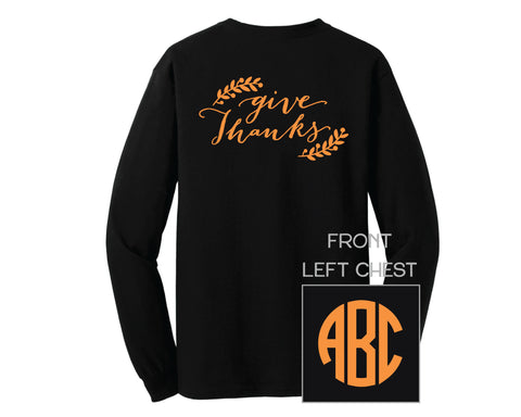 Black Give Thanks Monogram Shirt - LONG SLEEVE