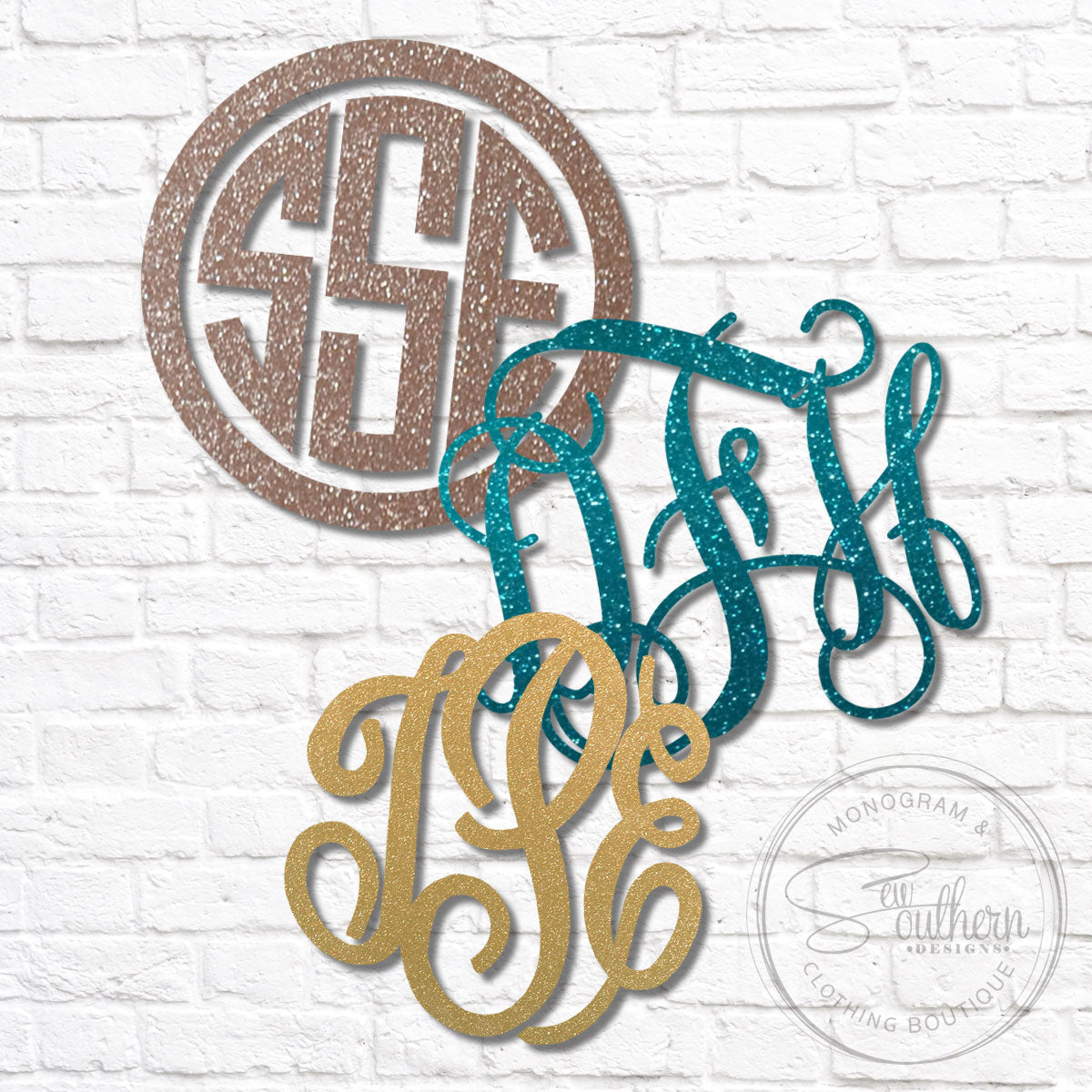 Glitter Monogram Decal