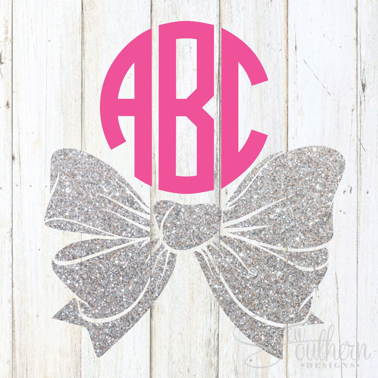 Glitter Bottom Bow Monogram Decal