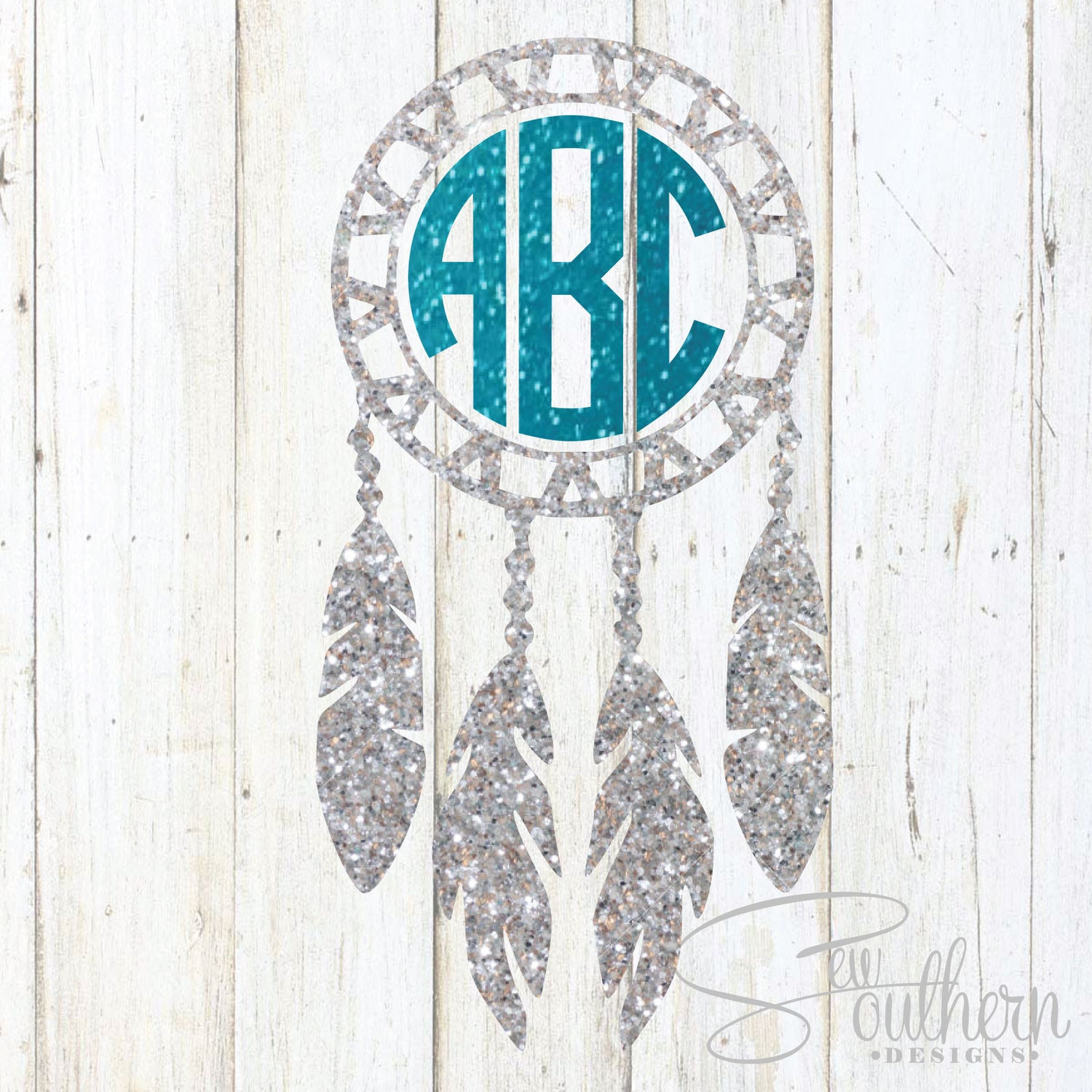 Glitter Dreamcatcher Monogram Decal