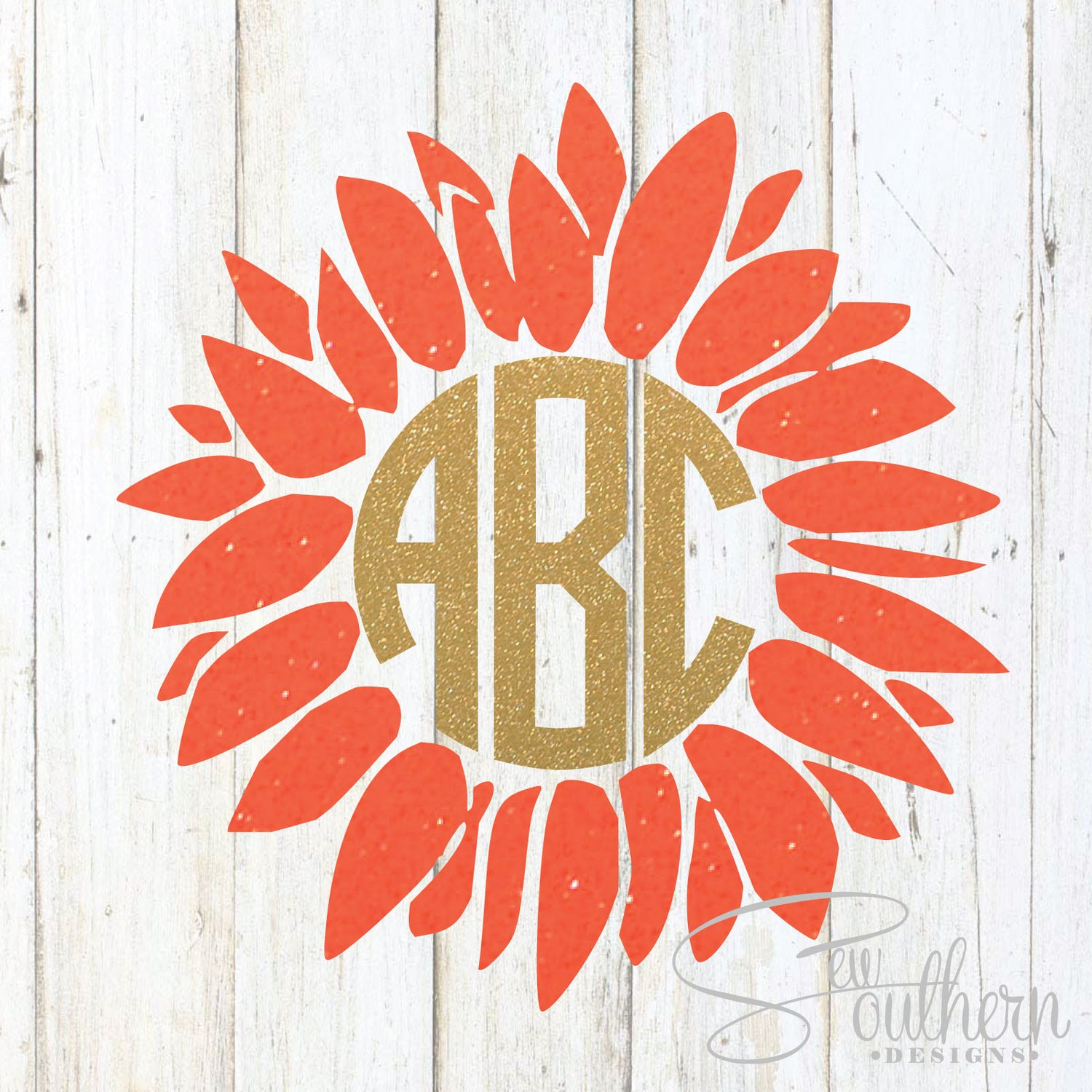 Glitter Flower Monogram Decal