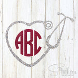 Glitter Nurse Stethoscope Monogram Decal