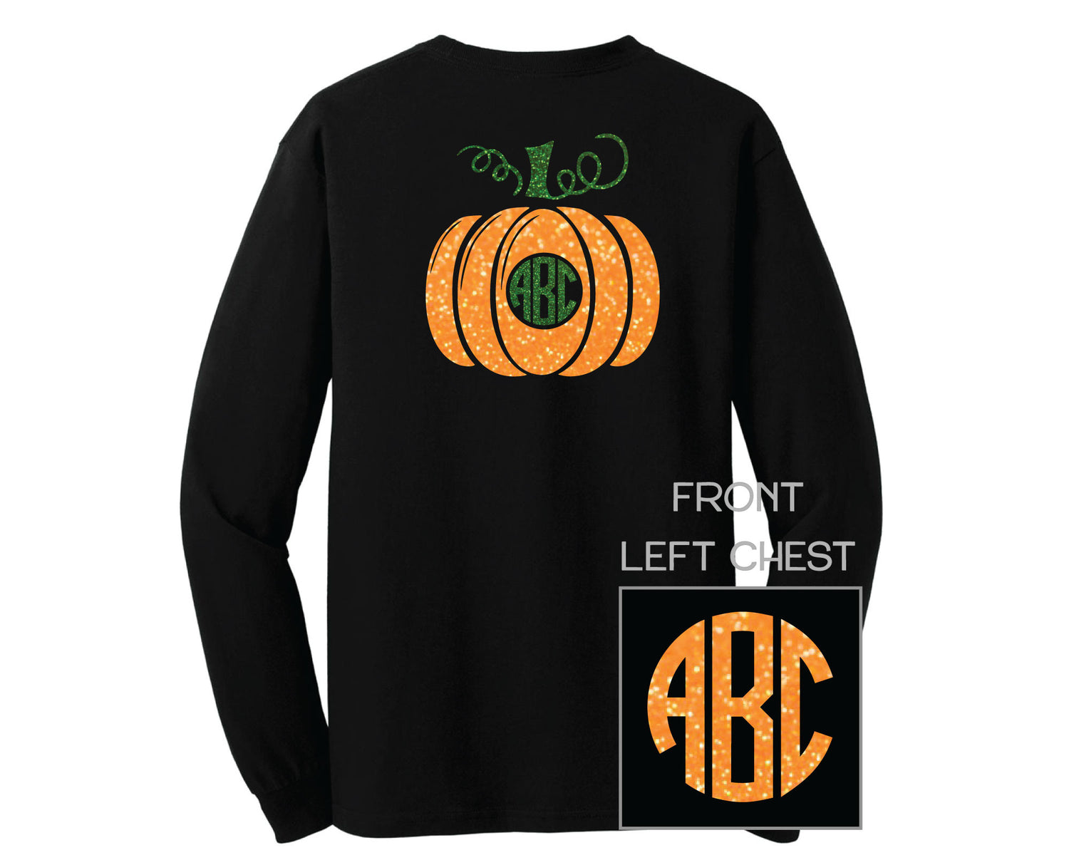 Black Glitter Pumpkin Monogram Shirt - LONG SLEEVE
