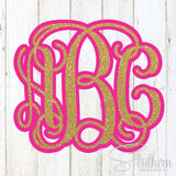Glitter Two Color Monogram Decal