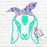 Lilly Goat Head Tag Bandana Monogram Decal