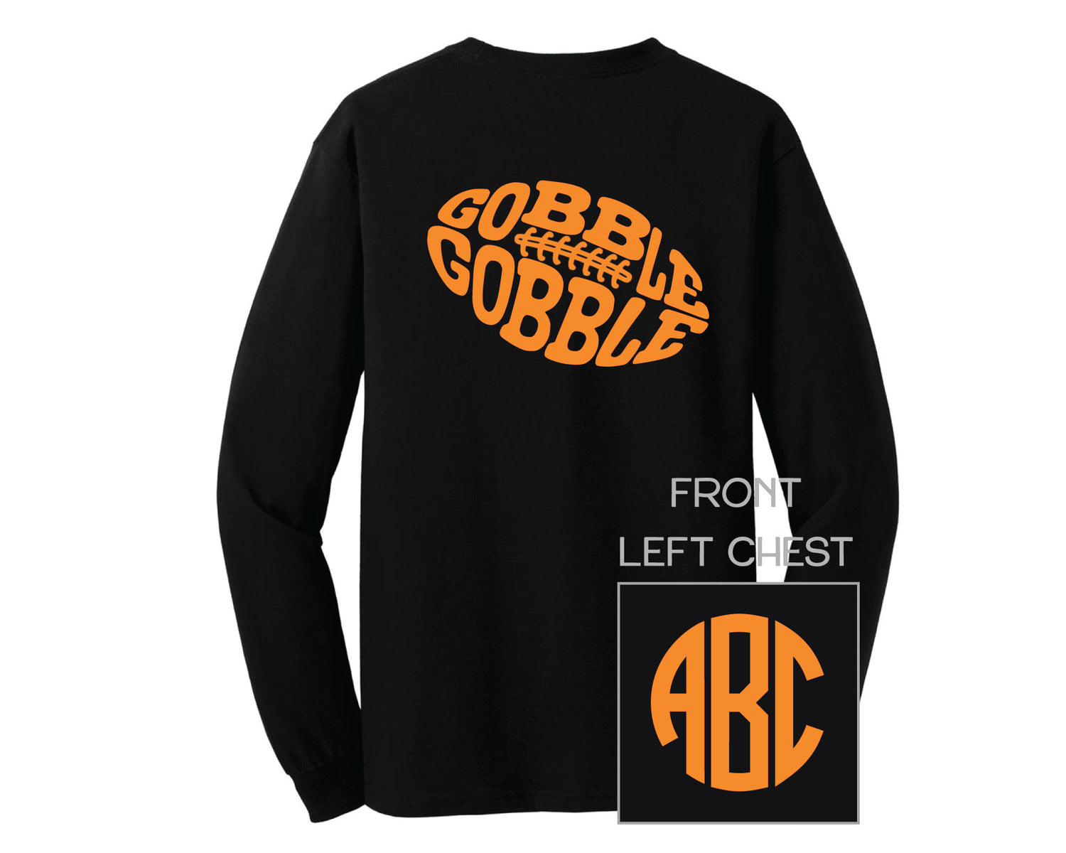 Black Gobble Football Monogram Shirt - LONG SLEEVE
