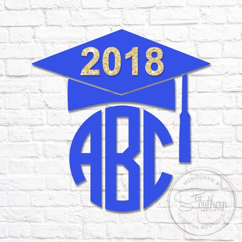 Graduation Cap with Glitter 2018 Monogram Decal