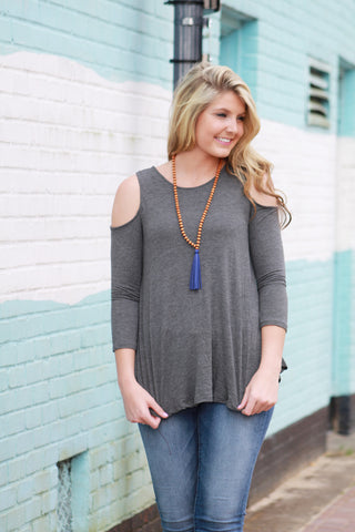 Dark Grey Cold Shoulder Top
